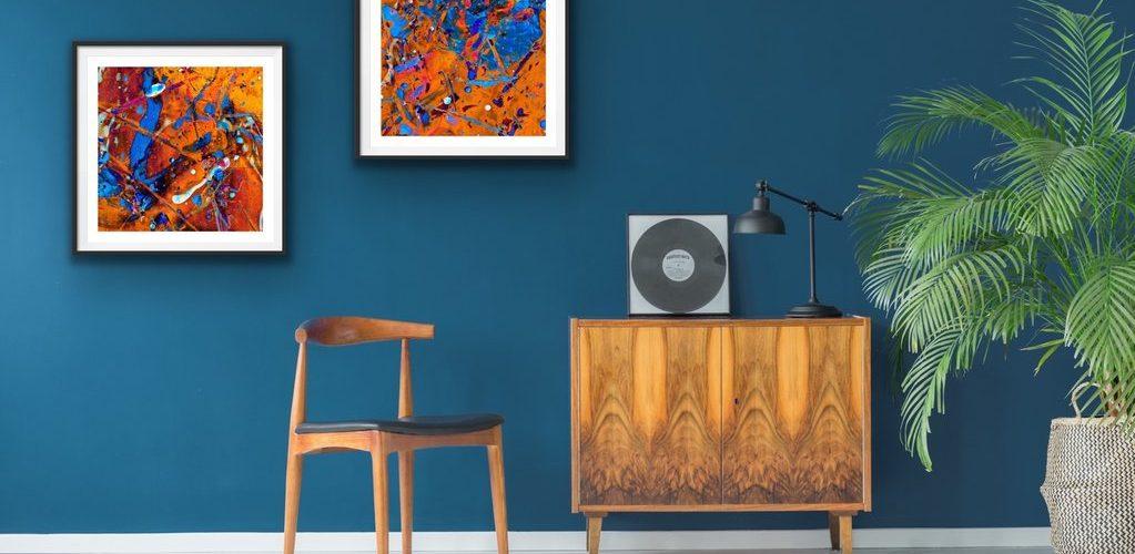 intérieur maison bleu canard